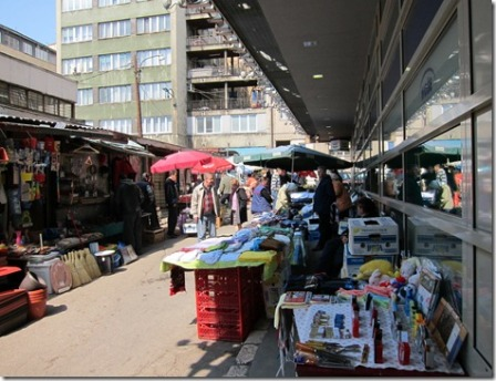 Pop up stalls outside the market